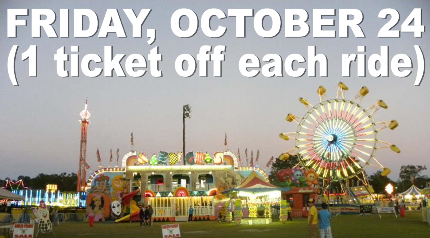 Read more about the article FRIDAY, OCTOBER 24 (1 ticket off each ride)